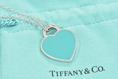 Bitte Rückkehr Tiffany & Co.Silber Blau Emaille Herzanhänger 19.5