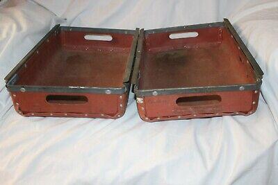 2 Vintage Hardened Canvas Storage Drawers Bins W Mounted Drawer Slides