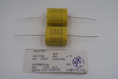 Lot Of 2 Fmpp Capacitors 106k 100v Metallized Polypropylene 10uf Film New