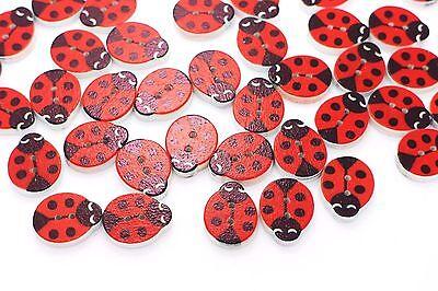 Ladybird Wooden Button Animal Red Polka Dot Baby Children Coat DIY Wood 20pcs - Diy Baby Ladybug Costume