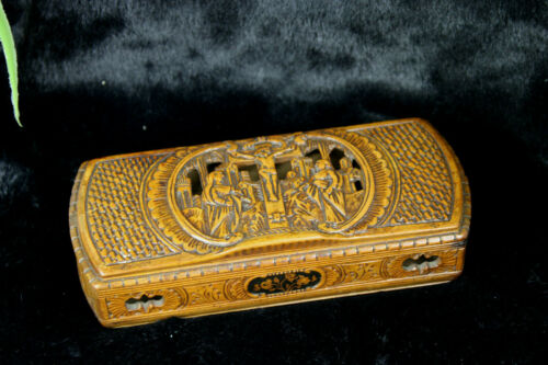 Antique Rare French wood carved catholic Box crucifix religious scene
