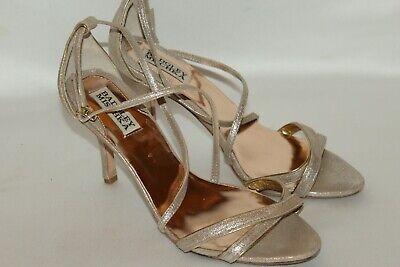 BADGLEY MISCHKA Gold Sparkle Leather Strappy Bridal Wedding Heels Sz 8.5 - Bridal Leather Heels