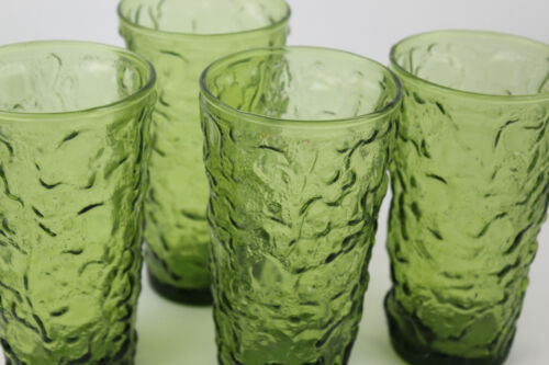 "4 Vintage Retro Green Crinkle Drinking Glasses 5.5"" Anchor Hocking Lido"