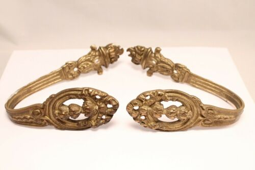 Vintage Pair of Solid Brass Ornate Drapery Curtain Tie Backs