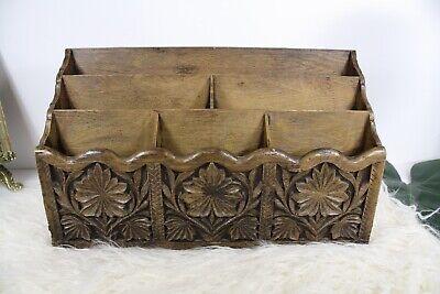 Vintage Lerner Desk Top Organizer Faux Carved Wood Mail Bills Pens Holder Office