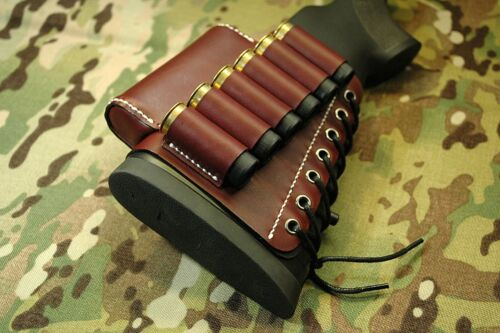 Burgundy Leather sleeve with cheek rest for rifle, Bordo Stock Wrap Ammo Holder