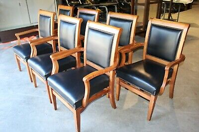 St. Timothy Commercial Stacking Arm Chairs Set Of 7 Black With Nail Head Trim