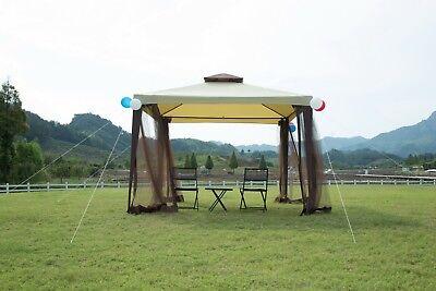 10x10 Garden Gazebo Patio Canopy Party Tent 2-tier W/ Netting Outdoor Metal  ()