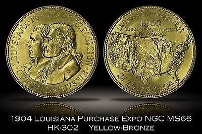 1904 Louisiana Purchase Expo Official Medal Yellow-Bronze HK-302 NGC MS66 LAPE