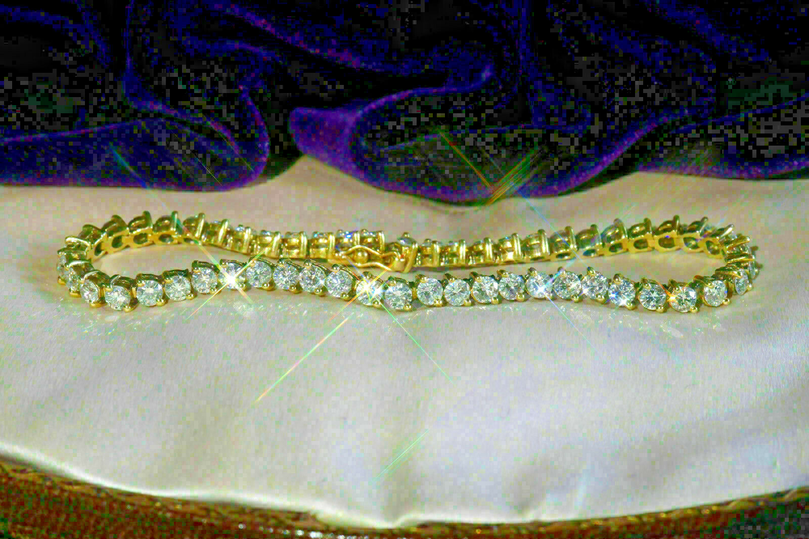 5.40 Ct Round Cut Brilliant Diamond Tennis Ladies Bracelet 10k Yellow Gold Over