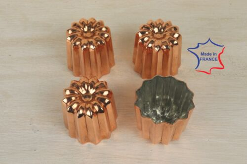 4 Copper canele molds Large 2.1 inches 4 Copper Cannele made in France