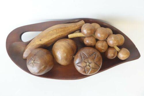 Vintage Hawaii Monkey Pod Wood FRUIT SET Mid Century Modern MCM Banana Grapes