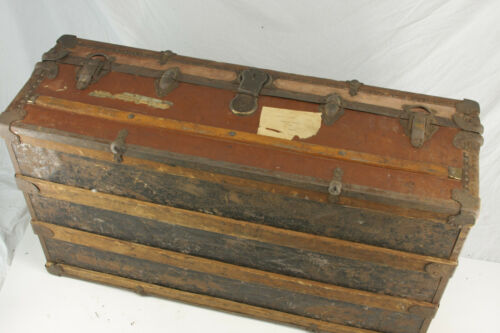 "Vintage Steamer Trunk Flat Top Divider Box ~13x21x39"" Good ORIGINAL Hinges Wood"