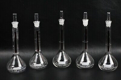 Lot Of 5 Pyrex Glass Red Stripe 50ml Class A Volumetric Flasks W Stopper
