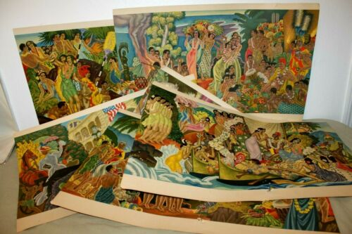 """The Matson Murals by Eugene Savage 1948-1956 Set of 6 - 14"""" x 21"""" Litho Prints"""