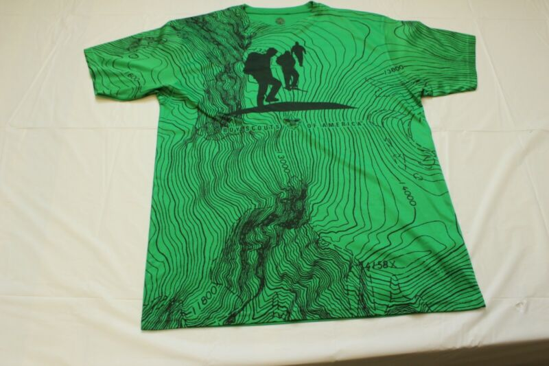 BOY SCOUTS OF AMERICA ADULT SHIRT LARGE GREEN TOPOGRAPHICAL MAP PRINT