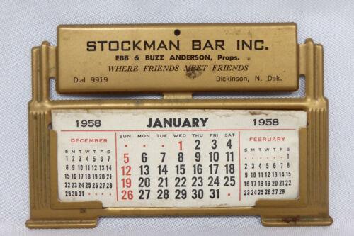 1958 Stockman Bar metal advertising calendar Dickinson North Dakota phone 9919