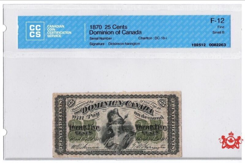1870 Dominion Of Canada 25 Cents Serie B - CCCS F12 -