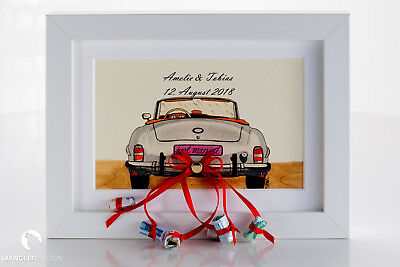 Geldgeschenk zur Hochzeit - Hochzeitsgeschenk Bilderrahmen mit Auto