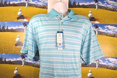 New Pga  50 Pro Golf Polo Shirt Performance Mens Short Sleeve Bluefish Blue Xl