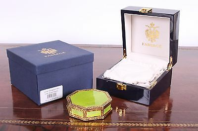 FABERGE Green Guilloche Enamel & Gilt Octagonal Box ~ NEW
