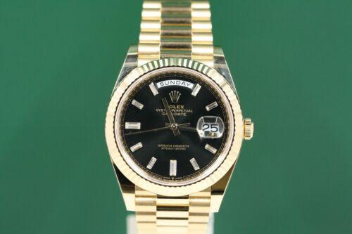 Rolex Day-date 40 228238 Yellow Gold President Black Baguette Diamonds -unused-