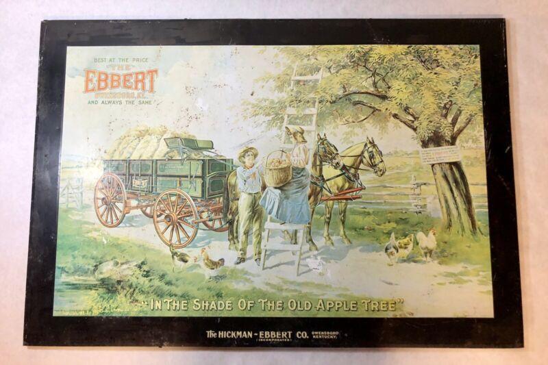 Vintage Hickman-Ebbert Wagons Co. Tin Litho Advertising Sign Owensboro Kentucky
