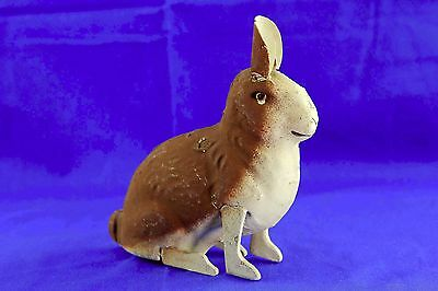 VINTAGE GERMAN PAPER MACHE EASTER BUNNY CANDY CONTAINER WITH GLASS EYES