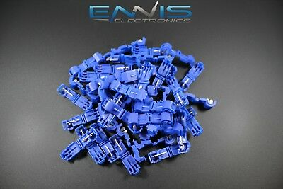 25 Pcs 14-16 Gauge T-tap Blue Crimp Terminal Awg Wire Splice Connector Btt