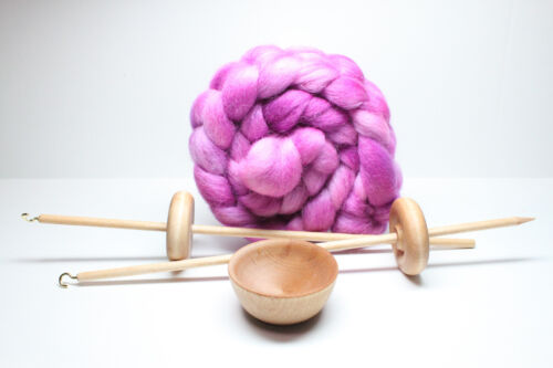 Beginner Learn To Spin Complete Kit - Lace Weight with Roving - Berry Crush