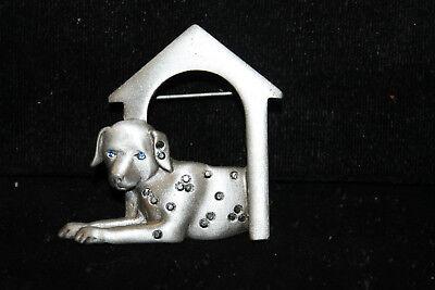 Signed J.J. Vintage Dog Puppy Dalmation Pin Brooch Pewter & Blue Jewel-like Eye