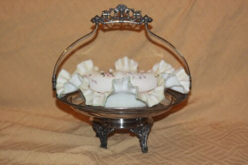 Antique Brides Basket Centerpiece Bowl Hand Painted Flowers Silver Plate Stand