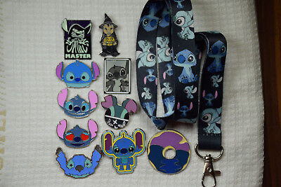 Disney Pin Starter Set 10 piece Lilo & Stitch Pins and Dark Blue Stitch Lanyard