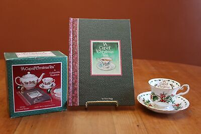 A Cup of Christmas Tea China Cup & Autographed Saucer Tom Hegg IOB 1986 and Book ()