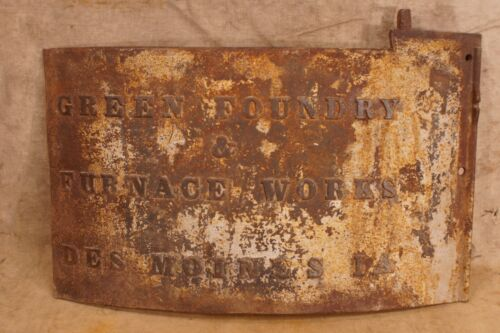 Antique Cast Iron Green Foundry & Furnace Works Des Moines Iowa Furnace Door