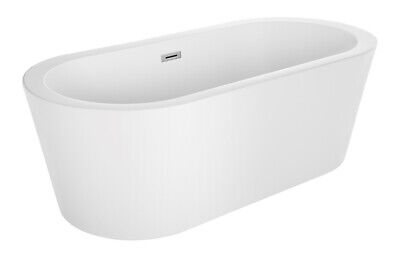 "67"" Luxury 2 Person Bathtub Bathroom Freestanding White Acrylic Oval Soaking Tub"