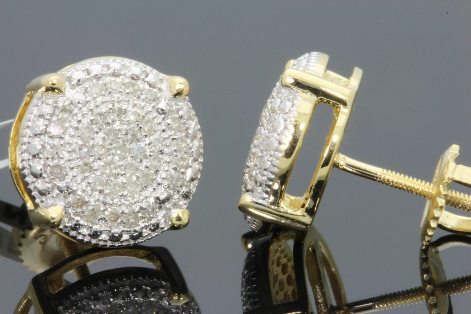 .37 CARAT YELLOW GOLD FINISH MENS WOMENS 1 mm 100% REAL DIAMONDS EARRINGS STUDS