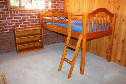 Single loft bed with book shelf and pull out table