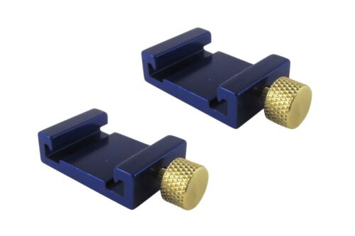Pair 2 Each Ruler Stop Fence Machinist Rule Anodized Brass Knob Taytools 110211
