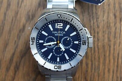 RRP £195 OVERSIZED NEW MENS NAUTICA A19568G FULL STAINLESS DAY/DATE, 24HR  WATCH