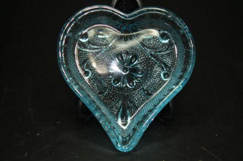 Vintage Indiana Glass Tiara Heart Blue glass trinket, candy dish, demo 3.5 inch