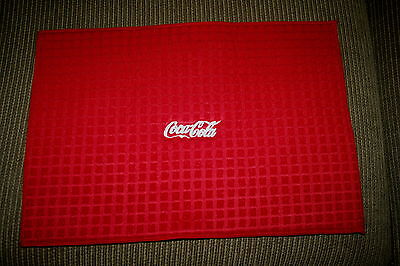 """Coca Cola"" Microfiber Dish Drying Mat Red w/white thread machine embroidered"