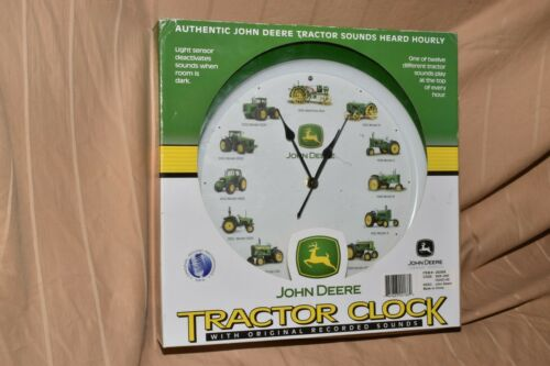 John Deere Tractor Clock with Authentic Tractor Sounds Hourly -- New in Box