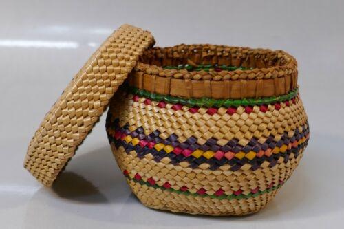 Vintage Northwest Coast Makah Tribe Native Basket Polychrome Design