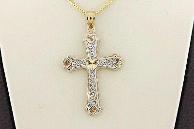 10K Yellow and White Gold Heart Design Scroll Swirl Style Cross Charm Pendant    ()