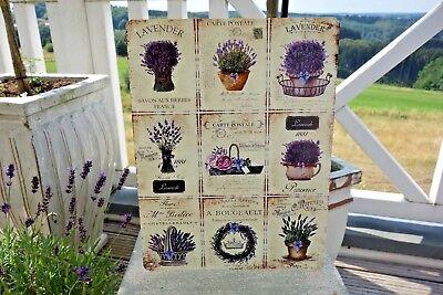 Shabby Blechschild Wandbild Lavendel Ideen Haus Garten Retro Antik Look 33x25 cm