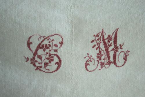 Linen & Cotton Blend Antique French Sheet CM monogram 86X106 inch large textile