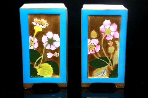 Coalport Aesthetic Movement Vases Turquoise Ground Circa 1880