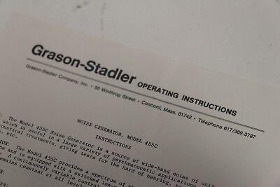 Grason Stadler Operating Instructions Sheet 455c-9000-1