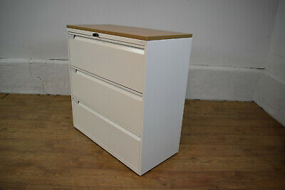 Bisley White/Oak 3 Drawer Lateral Office Side Filer Filing Cabinet - Locks W/Key